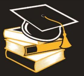 Scholars logo with black background, stack of books with graducation cap on top